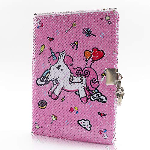 Kandice Unicorn Sequins Notebook-Girls Journal with Lock and Key Sparkly Secret Journal Travel School Office Notepad Provide Unicorn Gifts for Girls