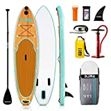 DAMA Inflatable Stand up Paddle Board (9'6''), sup Paddle Board,Drop Stitch and PVC,travling Board,fin,Hand Pump,Leash,Repairing kit,for Surfing or Padding Adult,Wood Grain