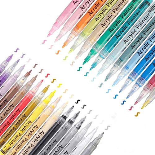 OUTERDO Acrylstifte Marker Stifte, Acrylfarben Marker 30 Farben, Acrylfarben Marker Set 0.7mm Feine Spitze, Acrylfarben stifte Wasserfest für Stein Metall Papier Glas Holz Kunststoff Keramik