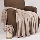 Home Soft Things Pompom Bed Couch Throw Blanket, 50'' x 60'', String Grey, Fuzzy Soft Comfy Warm Decorative Throw Blanket for Living Room Bedroom Suitable for All Seasons