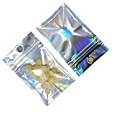 200 Pcs Clear Mylar Zipper Lock Bags with Hang Hole Resealable Smell Proof Pouch Rainbow Color Aluminum Foil Bags for Zip Food Storage Lock Bags Sample Packet (6x10cm (2.3x3.9 inches))