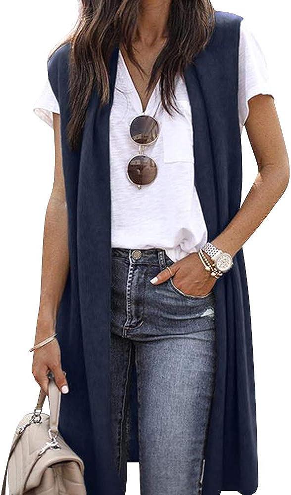 ZXZY Women Casual Sleeveless Open Front Tunic Vest Long Cardigan Tops Coat