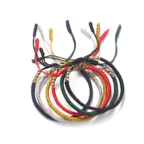 LOYALLOOK 6 Pcs Handmade Rope Tibetan Lucky Friendship Bracelets Protection Charm for Men Women Couple Adjustable Hand-Knitted Woven Braided Rope Bracelets