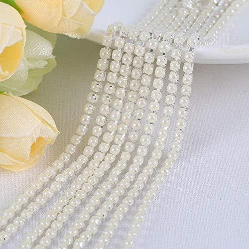 Feilang 15 colores 2 mm/2,5 mm tamaño cadena de perlas resina 2 yardas/bolsa material DIY colorido garra cadena rhinestone accesorios de costura, Lvory, 2,5 mm