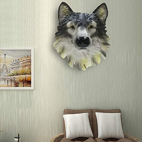 DC Wesley Simulation Harz Wolf Kopf Tier Wanddekoration Wanddekoration Ornament Wohnzimmer Bar Wandbehang (Color : Yellow)