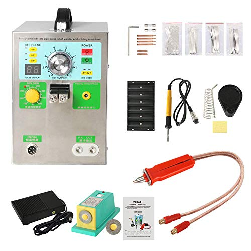 D&F 4 en 1 Soudeuse à Batterie Machine de Soudure par Points d'impulsion de 220V 3.2kw LED avec Station de Fer à souder pour,avec Stylo de soudage