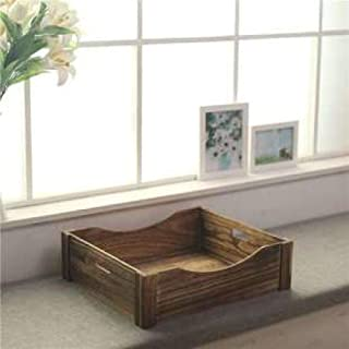 Nfudishpu Soft Environmentally Friendly Wooden Dog Bed Kennel Retro Wooden Pet Bed Indoor Puppy Cat Bed
