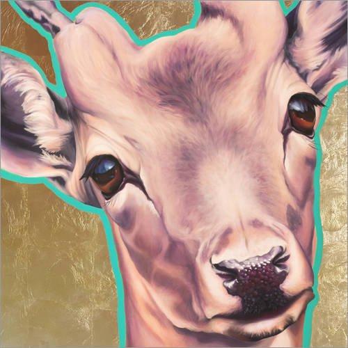Posterlounge Acrylglasbild 50 x 50 cm: REH türkis Gold von Renate Berghaus - Wandbild, Acryl Glasbild, Druck auf Acryl Glas Bild
