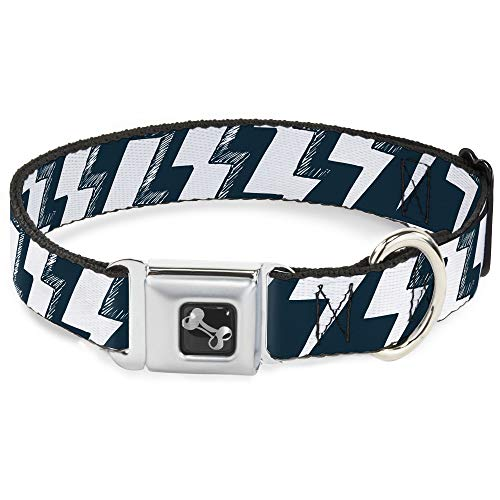 Dog Collar Seatbelt Buckle Lightning Bolts Sketch Navy White 18 to 32 Inches 1.5 Inch Wide