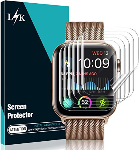 [6 Pack] L K Screen Protector for Apple Watch Series 5/4 44mm, [Full Coverage] [Self Healing] Bubble Free for iWatch 5 Flexible TPU HD Clear Film