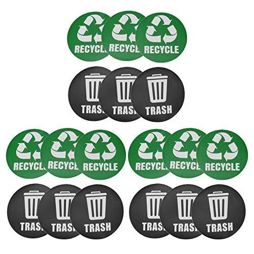 Denkerm Etiqueta engomada del Cubo de Basura Reutilizable autoadhesiva de 18 Piezas, calcomanía de Reciclaje, Trabajo de decoración del hogar para la Oficina de la Escuela en el hogar