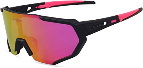 X-TIGER Polarized Cycling Bike Sunglasses,Bicycle Glasses with 3 Interchangeable Lenses