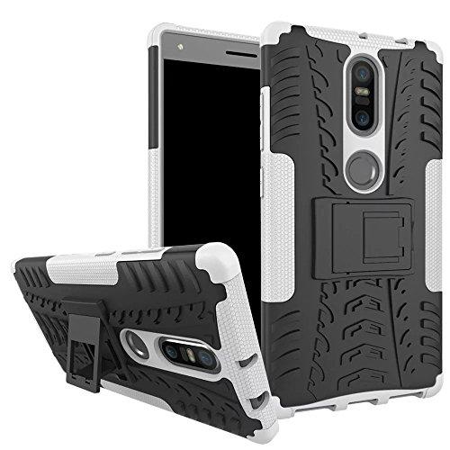 Sunrive Für Lenovo Phab 2 Plus, Hülle Tasche Schutzhülle Etui Hülle Cover Hybride Silikon Stoßfest Handyhülle Hüllen Zwei-Schichte Armor Design schlagfesten Ständer Slim Fall(Weiß)