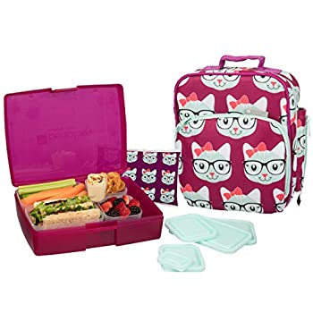 Bentology Lunch Bag and Box Set for Girls - Includes Insulated Bag Bento Box 5 Containers and Ice Pack - Kitty