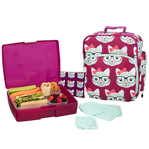 Bentology Lunch Bag and Box Set for Girls - Includes...