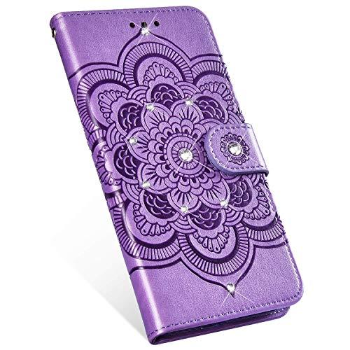 Ukayfe Compatibile con Nokia 5.1 2018 Custodia,Mandala Motivo PU Pelle Custodia con Bling Brillantini Glitter Strass Portafoglio a Libro Leather Flip Case per Nokia 5.1 2018-Porpora