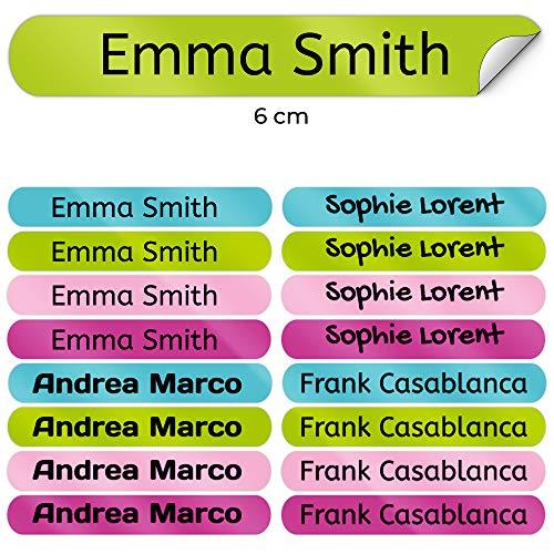 50 Namensaufkleber Namen Sticker Aufkleber Sticker 6 x 1 cm. (Kelle 9) - für Kinder, Schule und Kindergarten - Stifte, Federmappe, Lineale - Markieren von Gegenständen - personalisiert