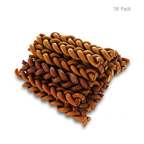BBDOGO Braided Bully Stick for Dogs Natural Low-Odor Jumbo Pet Dental Treats Chew Bones (Length 6 inches) CW042 (18 Pack)
