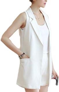 Women's Sleeveless Trench Coat Vest Casual Lapel Long Blazer Jacket