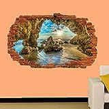 3D Pegatinas De Pared California Crags Malibu Beach Decorativos De Ventanas Rotas Pegatinas De Pared 23x35inch(60x90cm)