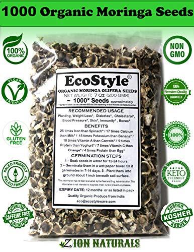 Organic Moringa Seeds | 1000 Seeds Approx.| Premium Quality | PKM1 Variety | 200 GMS | Snacking | Planting | Moringa Oleifera Seeds | Malunggay Seeds | Semillas De Moringa | Drumstick Seeds | Non-GMO!