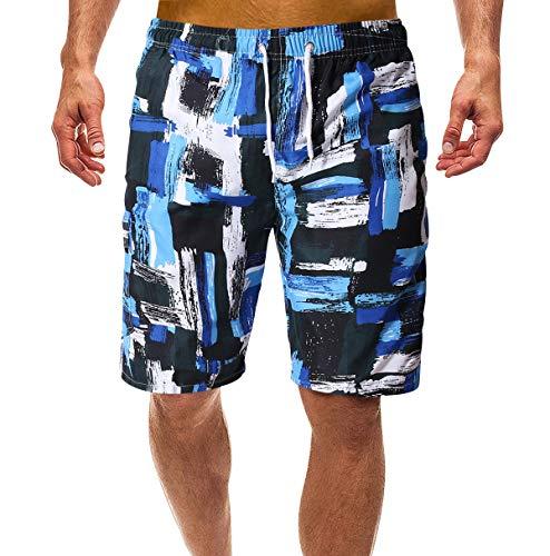 Bañadores Estampados Hombre Bañador Natacion Hombre Cortos Largo Traje Trajes de Baño para Hombres Bañador Piscina Surf Playa Caballero Deportivo Pantalonetas Short de Baño Tallas Grandes Azul 2XL