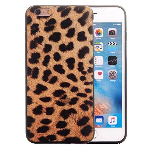 Estuche grande con diseño de leopardo para iPhone 6 y 6s Marco de TPU + Carcasa trasera para PC Cubierta antideslizante (SKU: IP6G2222A)