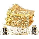 JPYH 100 Piezas Bolsas de Organza Regalo Dorado, Bolsos de Lazo de Organza Jewelry,Saquitos Arroz Boda para Joyas Caramelo Dulces Fiesta Bautizo Comunión (10x12cm)