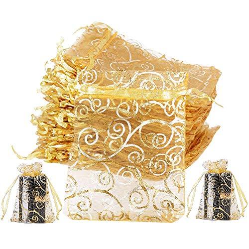 JPYH100 Pezzi Sacchetti Regalo in Organza, Sacchetti Regalo Caramella,Gioielli Sacchetto, per Gioielleria Nozze Favore Festa, Oro, 9 * 12cm