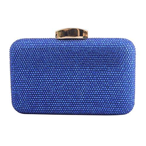 LETODE Damen Abend-Handtaschen, Metall mit Glitzersteinen, für Hochzeit, Party, Brautgeldbörse, (8433-blau), Small