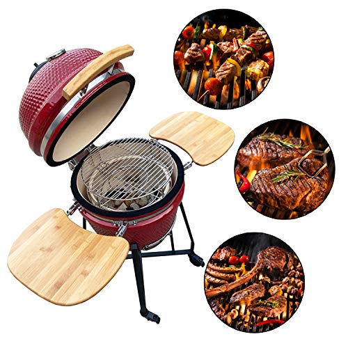 "Aoxun 19"" Kamado Grill, Roaster and Smoker. BBQ Grill,Multifunctional Ceramic Barbecue Grill, Egg Outdoor Kitchen Style"