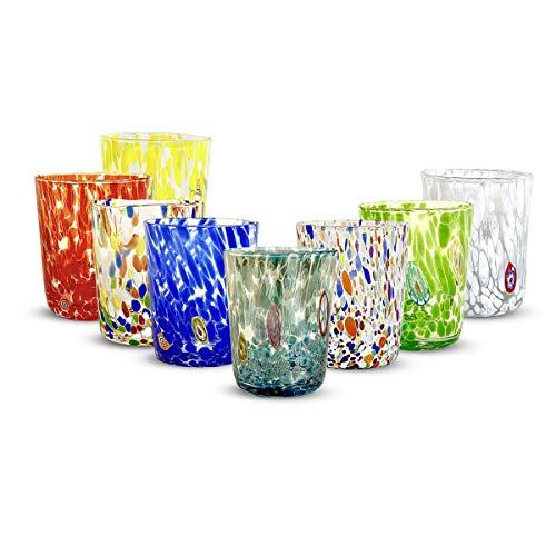 Gocce di Murano set 6 bicchieri Pioggia Arcobaleno in vetro di Murano soffiato 240ml lavorazione a mano colorati confezione 6 calici per acqua eleganti e preziosi (Personalizzato, 6)