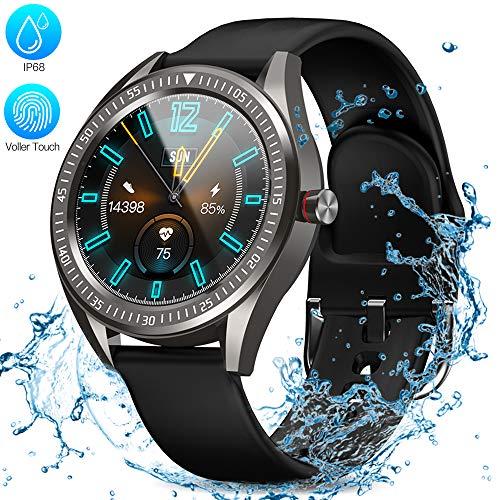 Zagzog Smartwatch 35mm Vollkreis-Touchscreen Wettervorhersage GPS-Tracking Schlafüberwachung IP68 Wasserdicht Unisex Sportuhr mit Nachrichtenruf Herzfrequenz Schrittzähler Stoppuhr 10 Tage Batterie
