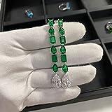 Original 925 Sterling Silver 3ct Diamond Emerald Dangle Earring Jewelry Gemstones Party Wedding Drop Earrings for Women Bridal