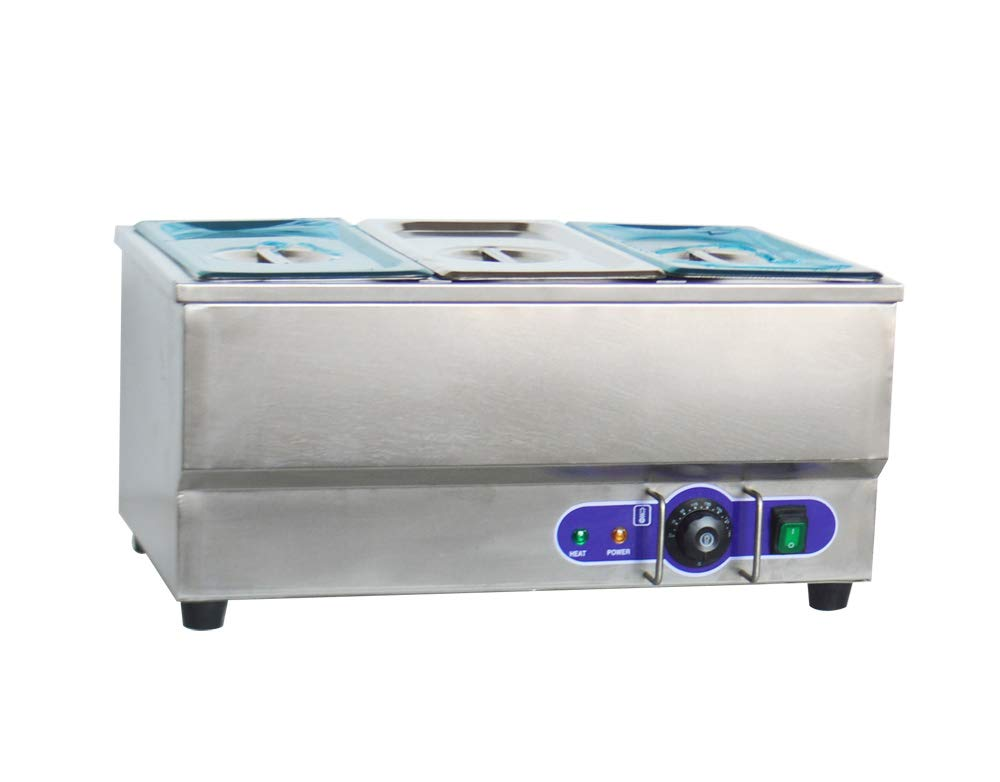 INTBUYING Fashion Bargain sale 110V 3-Pan Commercial Grade Bain Steel Marie Stainless