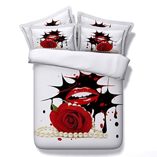 FGDJTYYJ Bettbezug Set Finca Rose 3D Wirkung Quilt Bettwäsche-Sets mit Kissenbezüge Doppelbett größe Bett 3 teilige 1 bettbezug 2 Kissenbezüge, E, 200x230cm