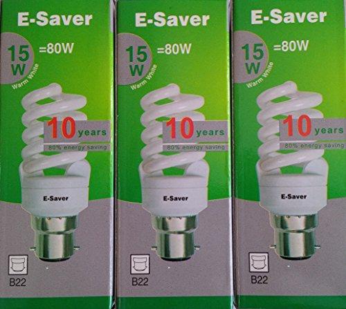 E-es - 3p - 15wa à culot baïonnette B22d 15 W Lampe fluorescente compacte ampoule à économie d'énergie