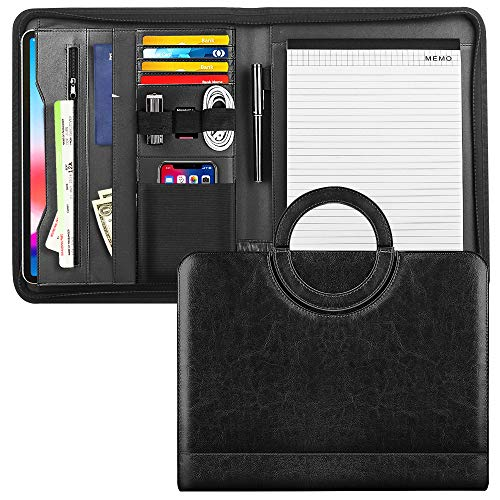 MoKo Leather Padfolio Portfolio Folder with Handle, Professional Business Portfolio Organizer with 11 Inch Tablet Sleeve for iPhone, iPad, Tablets, Notebooks and Documents - Black