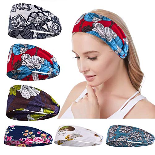 Headbands for Women Workout Hair Bands - 6 Pack Yoga Hair Bands for Womens Hair Bandana Wide Turban Head Wraps Boho Stretchy Non Slip Soft Fashion Running Headwraps Accessories for Girls
