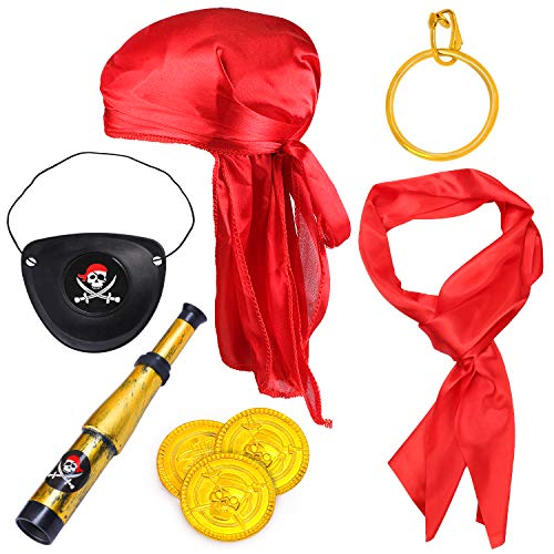 Haichen Pirate Costume Accessories Pirate HatRed Renaissance Pirate Sash Eye Patch Earring Coins Telescope Pirate Captain Dress Up Set for Halloween and Pirate Party (Red2)