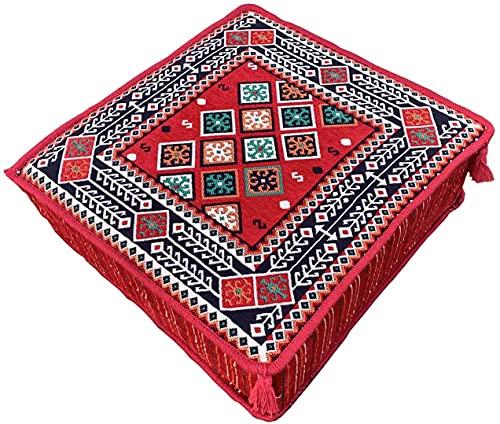 Puf decorativo grande estilo bohemio turco Kilim cojín pie taburete otomano, multicolor
