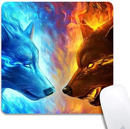Mauspad mit genähten Kanten, Flammenwolf VS Wasserwolf Kundenspezifisches Design Erweitertes Gaming-Mauspad Rutschfeste Gummibasis Ergonomisches Mauspad für Computer - Schwarzes Quadrat