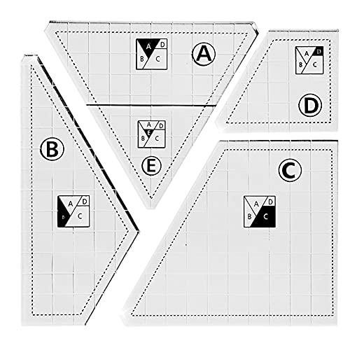 Plantilla de Acolchado de acrílico DIY, Kit de Herramientas de Costura de Patchwork a Mano, Plantillas de Costura de Movimiento Libre multifuncionales para el hogar, 4 Piezas