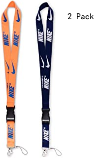 Lanyard with Hook and Buckle 2 Pack, Street Fashion Trendy Sports Style Neck Lanyard for Keys Phones ID Card Name Tag Bags Accessories -Deep Blue and Orange