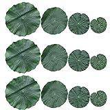 VILLCASE 12 piezas 4 clases de espuma flotante artificial hojas de loto almohadillas de lirio de follaje artificial decoración para estanque piscina acuario decoración
