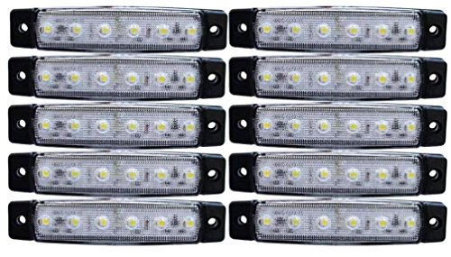 Lot de 10 feux de gabarit latéraux à LED - 24 V - Blanc - Pour camion, remorque, caravane, châssis