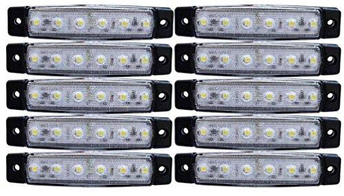 10x LED-Lichter, weiß, Seitenbegrenzungsleuchten für LKW, Anhänger, Wohnwagen, Chassis, Lastwagen, 24 V