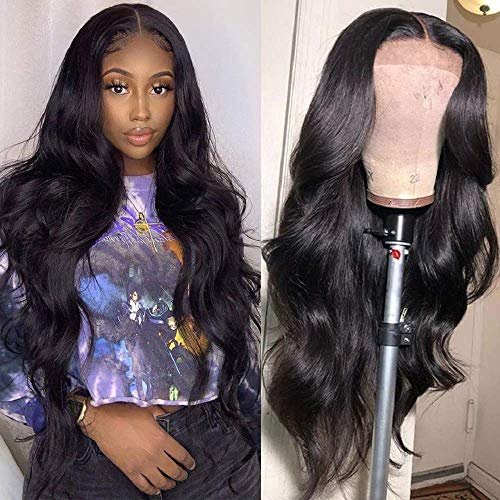 Metamuclia Hair Body Wave Lace Frontal Wigs Human Hair 4X4 Lace Closure Wigs for Black Women 150% Density Pre Plucked with Baby Hair Natural Black (22 Inch, 4x4 Body Wave Wigs)