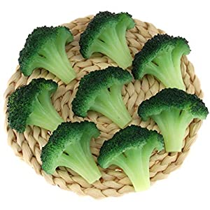 Gresorth 6pcs Fake Broccoli Slice Decoration Artificial Vegetable for Home Kitchen Shop Learning Food Model – Green