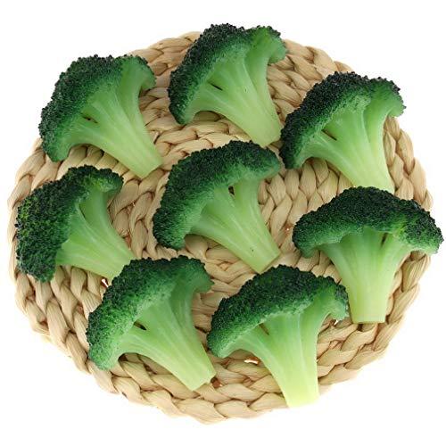 Gresorth 6 Stück Fälschung Brokkoli Scheibe Dekoration Künstlich Gemüse zum Zuhause Küche Geschäft Lernen Essen Modell - Grün
